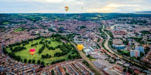 Birds eye view of the great balloon city of Bristol